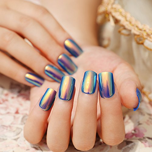 Stick On Nails (24 Pcs 12 Different Size Symphony Shell Color Blue Metal Shine Bent Lady Artificial False Nail Tips)
