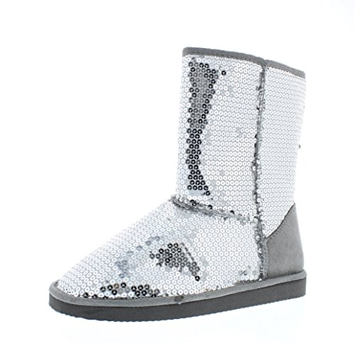 385 FIFTH Women's Tilly Metallic Bling Sequin Sparkle Faux Suede Fur Lined SlipOn Boot Silver 10 M US (Winter For Boots Sequin Women)