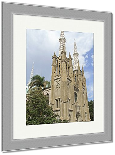 Ashley Framed Prints The Catholic Cathedral Of Jakarta, Wall Art Home Decoration, Color, 30x26 (frame size), Silver Frame, AG5971846 by Ashley Framed Prints