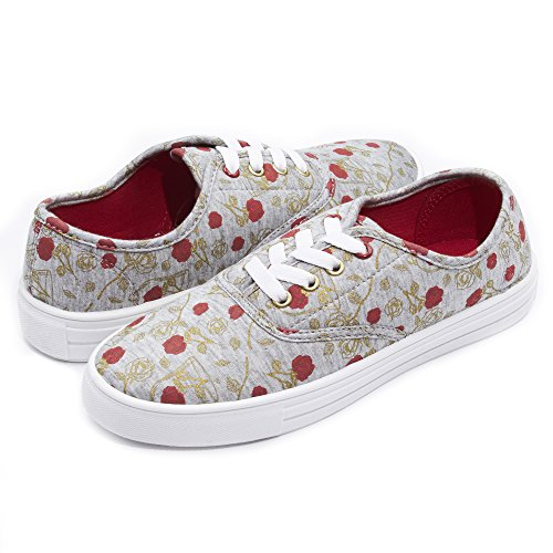 Disney Fairytale Junior Teen Girls Beauty and The Beast Lace up Low Top Canvas Sneakers Heather Grey (Disney Dressing Up Shoes)