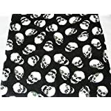 Black square bandana with white animated skulls with eyes design. 53cm x 53cm. Ideal every day wear, pirate party, bikers, etc.