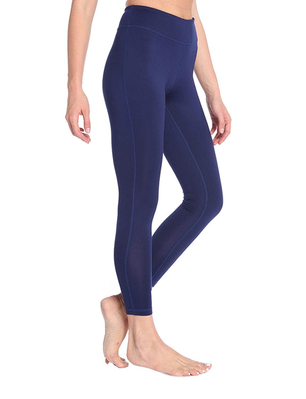 Dark bluee Exrebon Women's Yoga Gym Workout Pants Inner Pocket Non SeeThrough Leggings