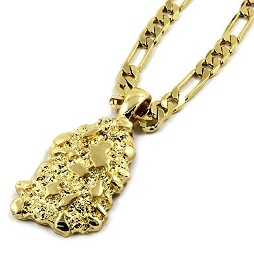 L & L Nation Mens Gold Tone Nugget Pendant Hip-Hop 5mm/24 Figaro Chain