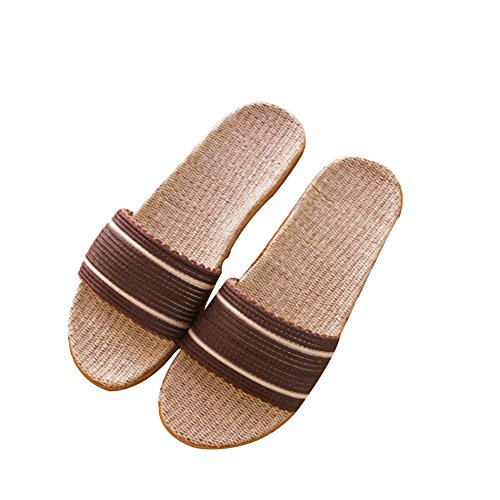 Kid Home Wood Home and Couples Men TELLW Cool Women Slippers Thick Flooring Summer Slippers Non Linen Slip Brown Indoor Slippers Rvdx7qw
