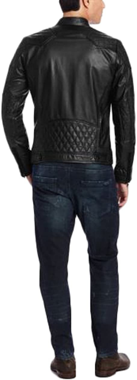 Men Slim Fit Biker Motorcycle Lambskin Leather Jacket Coat Outwear Jackets T1244