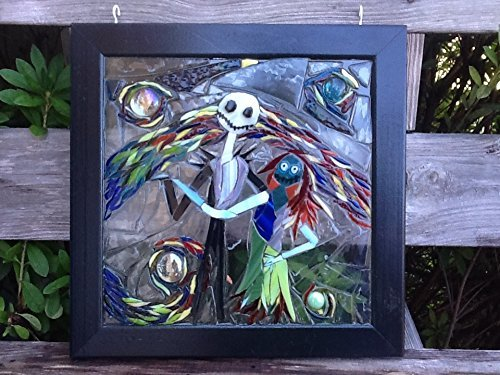 Jack and Sally Skellington Stained Glass Window Art Sun Catcher by Mountain Mosaics (Image #3)