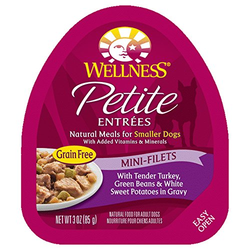 Wellness Petite Entrees Mini Filets Grain Free Natural Wet Small Breed Dog Food, Tender Turkey, 3-Ounce Cup (Pack Of 24)