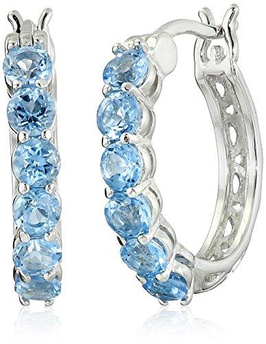 Genuine Blue Topaz - Sterling Silver Genuine Swiss Blue Topaz Hoop Earrings