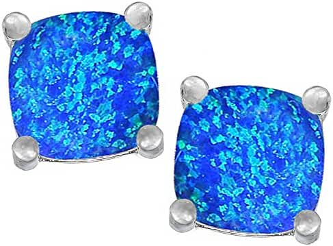 Star K Sterling Silver Cushion Cut 7mm Earrings Studs