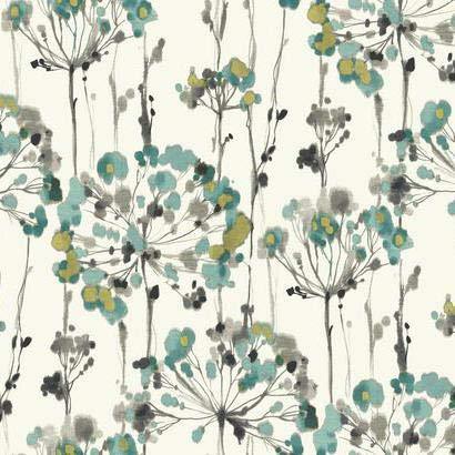 (York Wallcoverings CN2102 Candice Olson Modern Artisan Flourish Wallpaper White, Turquoise, Grey, Black, Metallic Gold)