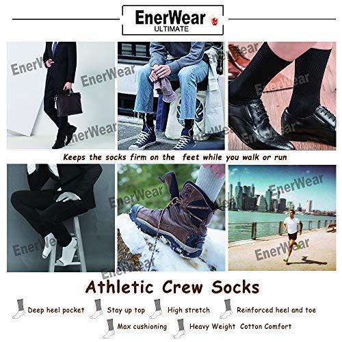 Enerwear Men's Cotton Wicking Heavy Crew Socks