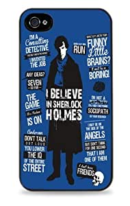 4s14s Sherlock Holmes Blue - Black Silicone Case for iphone 4s