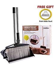 Broom and Dustpan Combo Set - Rotatable Wisp Cleaning for Kitchen Floor, Indoor, Hardwood Floors, Industrial, Lobby. Adjustable Broom Pole, Windproof Dustpan - Free Broom Holder