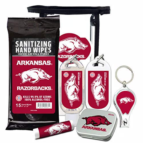 Arkansas Razorbacks 6-Piece Fan Kit with Decorative Mint Tin, Nail Clippers, Hand Sanitizer, SPF 15 Lip Balm, SPF 30 Sunscreen, Sanitizer Wipes. NCAA Gifts for Men and Women ()