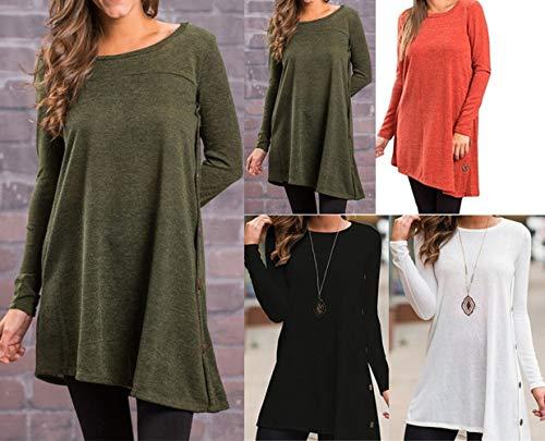 Tees Fashion Arme Verte Shirts Casual Tops Hauts Col Pulls Femmes Blouse T Tunique Manches Longues Chemises Automne Printemps Long Rond et Jumpers RCqXFFwY