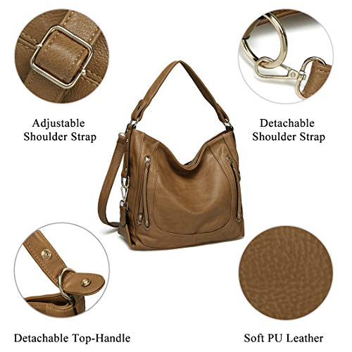 Strap Daily Bag Tote Detachable Large Use with Bag Women Bag Kasgo Khaki PU Work for for Hobo Handbag Shoulder Fashion Ladies Shoulder Leather f1awvqqF
