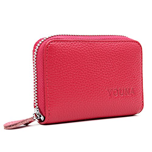 Credit Purse (Credit Card Wallet,YOUNA RFID Blocking Genuine Leather Credit Card Holder for Women Rose Red)