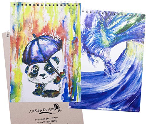 2 Pack Sketchbook: Premium Hardcover Heavyweight (160g) Spiral Bound Gift Collectable (9x12 Panda and Wave)