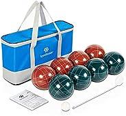 SpeedArmis Bocce Balls Set, 90mm Retro Resin Bocce Game Set for Backyard/Lawn/Beach/Outdoor - 8 Poly-Resin Bal