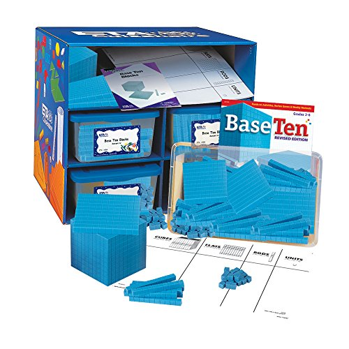 - hand2mind Blue Plastic Base Ten Blocks, Class Set