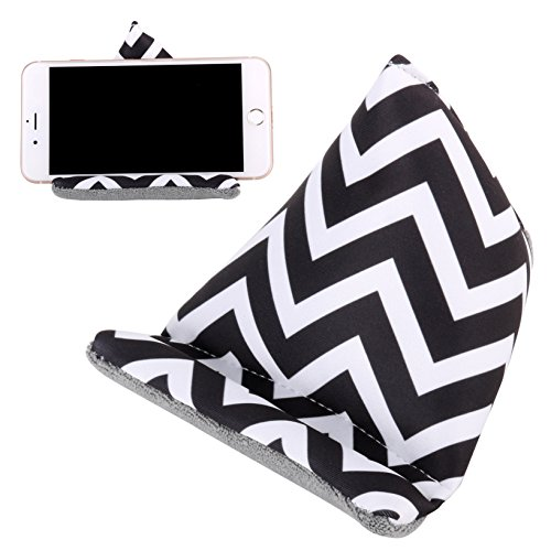 Plinrise Multifunctional Fabric Phone Stands Iphone Bed & Lap Stand, Bean Bag, Universal Phone Holder, Soft Mounts For Smartphones, Best Gift To Friends And Families (Stripe Black)