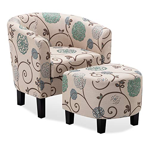 Belleze Upholstered Modern Barrel Accent Tub Chair with Ottoman Foot Rest Living Room, White