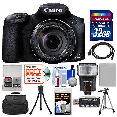 Canon PowerShot SX60 HS Wi-Fi Digital Camera with 32GB Card + Case + Flash + Battery + Tripods + Kit