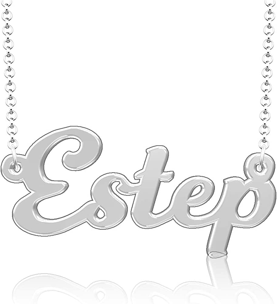 LoEnMe Jewelry Personalized Estep Name Necklace Stainless Steel Plated Custom Made of Last Name Gift for Family