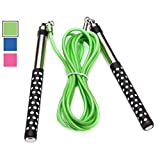 DYNAPRO Neon Green Jump Rope (Premium Quality Long Aluminum Handles 10' Adjustable PVC Speed Cable) for Crossfit Boxing Cardio HIIT Workouts and Home Gym Fitness Exercise