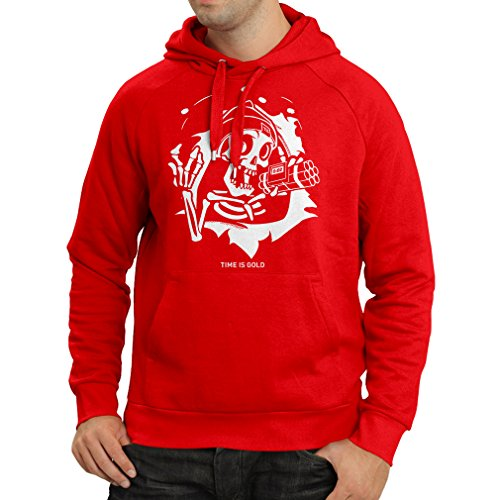 Hoodie The Skull - ticking bomb - Time is Gold quotes (Large Red Multi Color) (Universal Halloween Horror Nights Time)