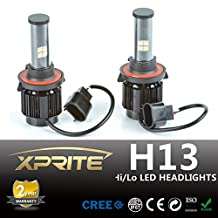 Xprite LED Headlight Conversion Kit Temperature Cover - 160W 9000LM (High Beam) and 80W 7200LM (Low Beam) XT-E Cree LED - Replaces Halogen and HID Bulbs - H13 (9008) Dual-Beam