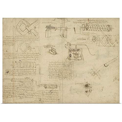 - GREATBIGCANVAS Poster Print Entitled Screws and Lathe, and Components of Plumbing Machine from Atlantic Codex by Leonardo da Vinci 48