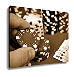 Ashley Canvas Hand Holding Poker Chips, Wall Art Home Decor, Ready to Hang, Sepia, 16x20, AG6423274