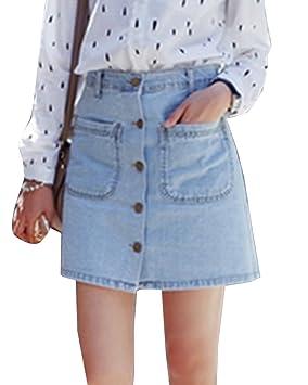 Guiran Mujer Retro Faldas Vaquera Mini Cintura Alta Decoración del ...