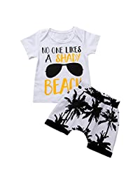 Scfcloth Toddler Baby Boys No One Likes A Shady Beach Tops + Shorts Outfits Set