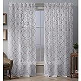 Exclusive Home Curtains Aberdeen Sheer Woven Trellis Embellished Hidden Tab Top Curtain Panel Pair, 54x96, Blush
