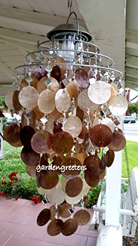 SOLAR CAPIZ SHELL WINDCHIMES/CHANDELIER AMBER/GOLD CAPIZ CHIMES WITH SOLAR LIGHT by Gardengreeters
