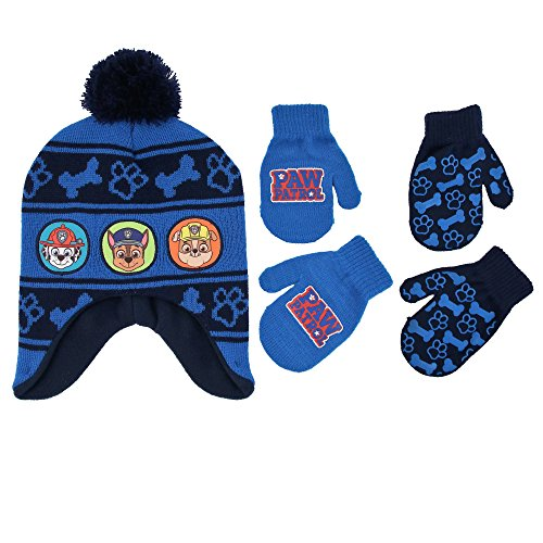 Nickelodeon Little Boys Paw Patrol Character Hat and 2 Pairs of Mittens or Gloves Cold Weather Set, Age 2-7 (Blue Design - Age 2-4 - Mittens Set)