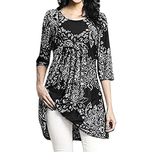 Price comparison product image Clearance Sale! Seaintheson Fashion Women Three Quarter Sleeved Tops Circular Neck Floral Printed Blouse Loose T-Shirt