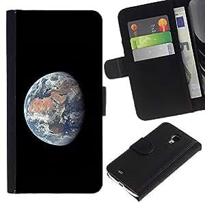 """Samsung Galaxy S4 Mini i9190 / i9195 (Not For Galaxy S4) , la tarjeta de Crédito Slots PU Funda de cuero Monedero caso cubierta de piel ("""" Planet Earth Comsmos Space Universe Sun"""")"""