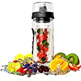 SUMMER SALE! Sharpro Fruit Infuser Water Bottle - Featuring a Full Bottle Length Infusion Rod - #1 Best Fruit Infusion Sports Bottle - Large 32oz - Flip Top Lid - Made of Durable Eastman Tritan - Make Your Own Naturally Flavored Fruit Infused Water, Juice, Iced Tea, Detox Lemonade & Sparkling Beverages