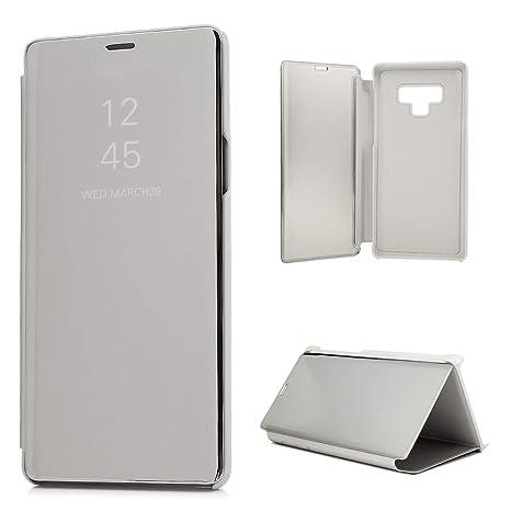 Funda para Samsung Galaxy Note 9 Case Estilo Libro - Carcasa Espejo Galvanizado - Cover Plegable en Plateado Reflectante para Samsung Galaxy Note 9 ...