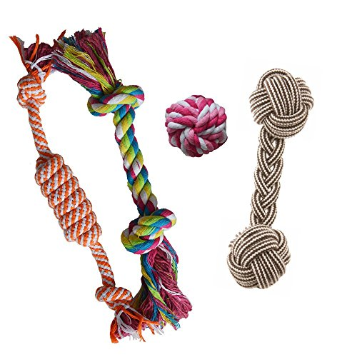 Puppy Chew Teething Rope Toys Set, Mini Dental Pack For Small To Medium (Dental Rope Dog Toy)