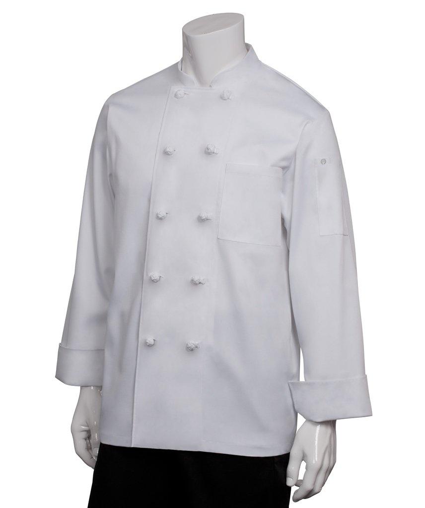Chef Works Men's Bordeaux Chef Coat, White, Large