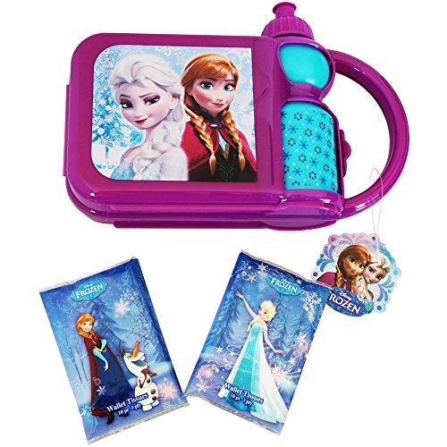 [AMAZING Disney Frozen Travel Lunch Box Bundle- 2 Items: Lunch Box with Included Canteen & Two Wallet Tissues 3 Ply (10 pcs each- 20] (Minnie Mouse Nose)