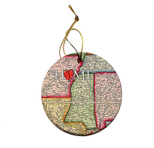 Mississippi State Map Christmas Tree Porcelain Ornament Round