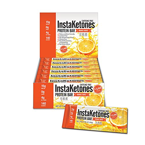 InstaKetones® 11.7g GoBHB® Per Protein Bar (Orange Burst) (Caffeine-Free) (12 Bars) Exogenous Ketones