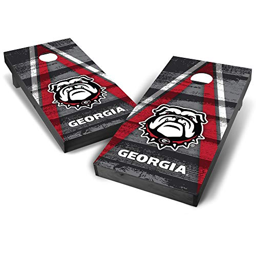 (Wild Sports NCAA Georgia Bulldogs College Grey Authentic Cornhole Game Set Vintage Triangle Design, 2' x 4', Team)