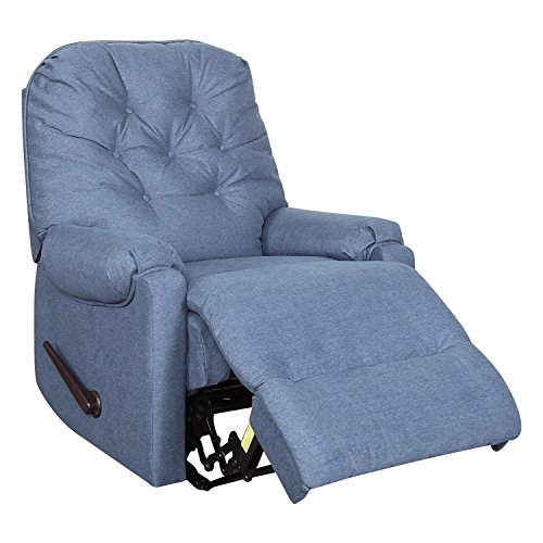 BONZY Recliner Chair Tufted Backrest Chair Easy Reclined by Handle Living Room Chair - Blue -