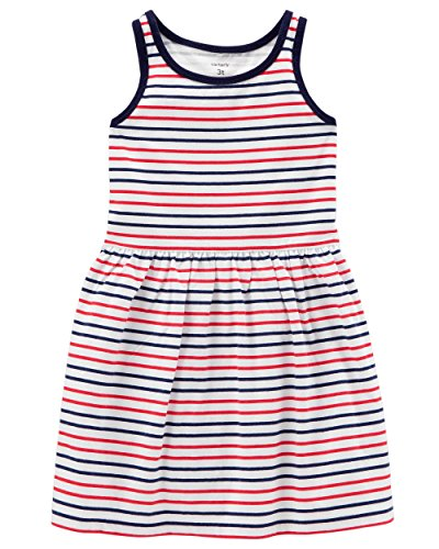 Carter's Girls' 2T-8, Lightweight Cotton Jersey Tank Dresses (Red/White/Blue, 3T)
